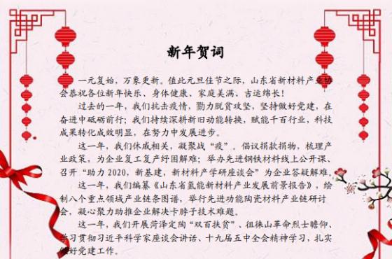 山东省新材料产业协会新年贺词